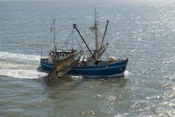 Fishing boat on the UNESCO protected Dutch Wadden Sea