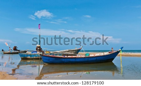 Fishing boat park at beach