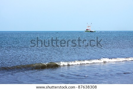fishing boat sailing in the North sea