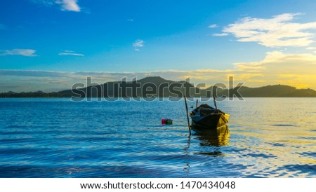 Fishing boat with sunset at Bang phra reservoir ,sriracha chon buri,  thailand #1470434048
