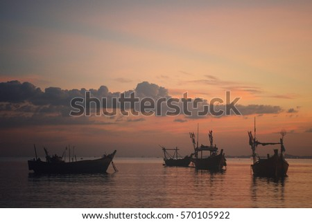 fishing boats and sailing ship...