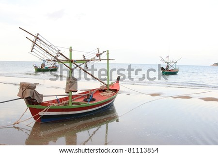 Fishing boats and sea in Thailand