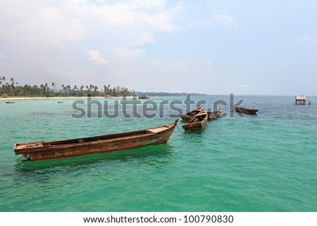 Fishing boats are in the South China Sea from Bintan Island, Indonesia.