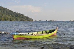 Fishing boats are sea transportation to catch fish in the sea. This photo was taken at the edge of the sea of Lemukutan Island, one of the districts of Bengkayang, West Kalimantan Province