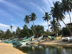 Fishing boats at Arugam Bay beach in Sri lanka