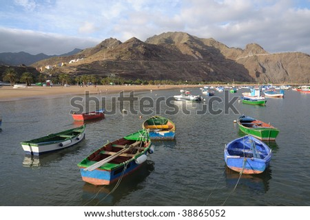 Fishing boats at Playa de Las Teresitas, Canary Island Tenerife, Spain