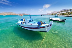 Fishing boats at the coast of Crete, Greece