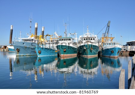 Fishing Boats in a Harbour and a Blue Sky