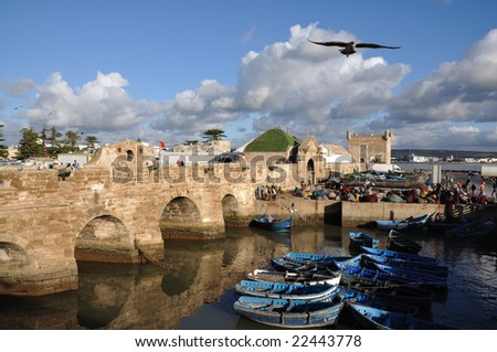 Fishing boats in Essaouria, Morocco Africa - stock photo