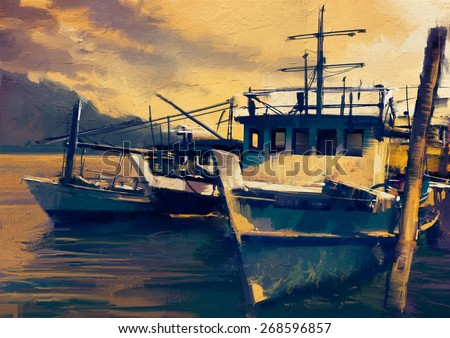 fishing boats in harbor at evening,old painting style,illustration