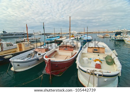 Fishing boats in port on the island of Capri. #105442739