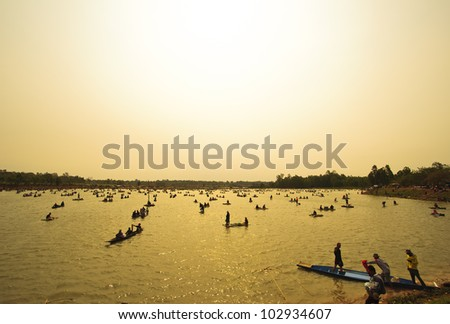 Fishing Boats in river , sunset