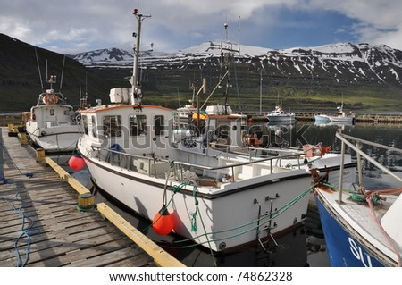 Fishing boats in Seydisfjordur, East fjords, Iceland