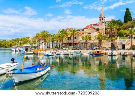 Fishing boats in Splitska village with beautiful port, Brac island, Croatia