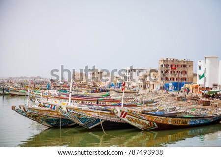 Fishing boats in St.Louis, Senegal. #787493938