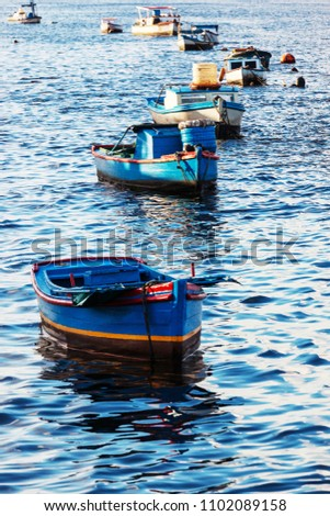 Fishing boats in the bay ocean