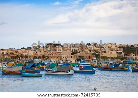 Fishing boats  lying at Marsaxlokk Bay. Malta
