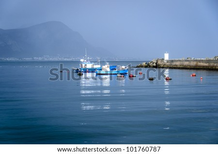 Fishing Boats moored in the Hermanus harbour late afternoon
