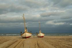 Fishing boats on beach at Slettestrand, West Coast Denmark on the 24 of Nov. 2018