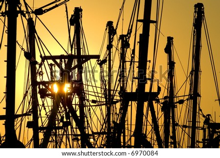 Fishing boats rigging silhouettes