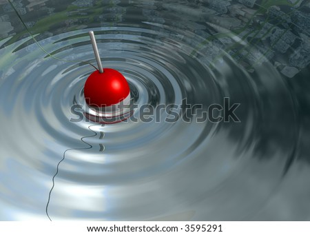 Fishing Bobber Floating in Water