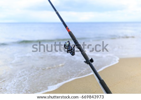 Fishing cane on the beach #669843973