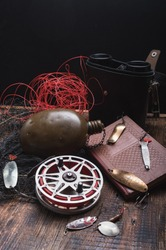 Fishing composition with vintage baits. Vintage Soviet baits. Vertical frame.