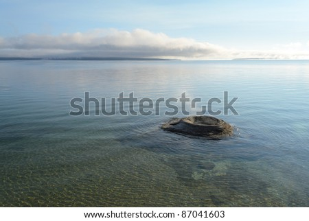 Fishing Cone and steam vent in Yellowstone Lake