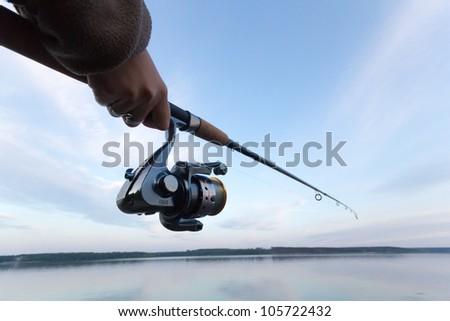 fishing, fishing in a lake, - stock photo