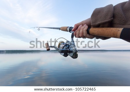 fishing, fishing in a lake,