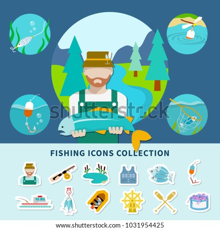 Fishing flat composition with faceless fisherman character and squid images with emoji style isolated icons set  illustration