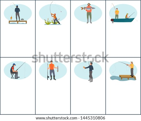 Fishing flyer or brochure set with raster sitting and standing characters in different angle isolated. Fisherman in boat with tackle gear and fish.