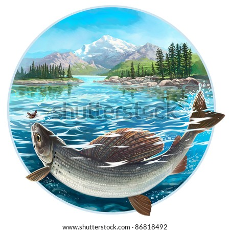 Fishing for grayling. Digital painting.