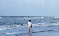 Fishing from the beach in Outer Banks North Carolina