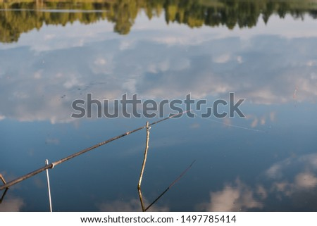 fishing gear. fishing rods. fishing rods standing on a fishing trip. landscape of a fisherman. camping. #1497785414