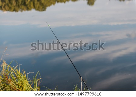 fishing gear. fishing rods. fishing rods standing on a fishing trip. landscape of a fisherman. camping. #1497799610