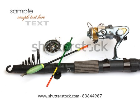 Fishing gear is isolated on a white background