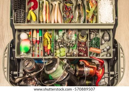 fishing gears equipment tackle box, baits fisherman reel wobblers jig float feeder #570889507