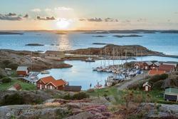 fishing harbour of swedish skerry Island of Ramsoe,western skerries,sweden