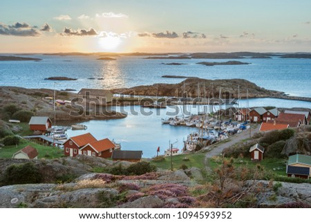 fishing harbour of swedish skerry Island of Ramsoe,western skerries,sweden