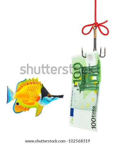 Fishing hook and money isolated on white background
