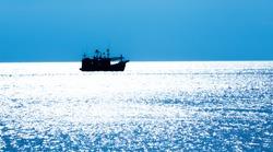Fishing in the sea - Fishing boat - trawler in sea,Thailand