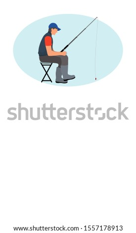Fishing leisure activity raster poster. Angling hobby flyer with sitting on chair fishman in gilet with rod or spinning and waiting for fish raise.