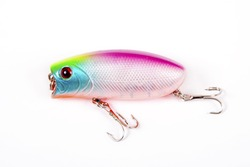 Fishing lure isolated on white. Wobbler in three color.Blue, yellow and red colors.