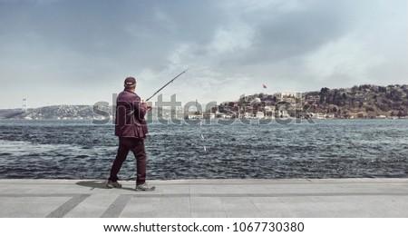 fishing man bosphorus Stok fotoğraf ©