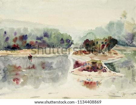 fishing man sailing on the lake....
