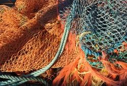 Fishing nets at Kent port, England, UK