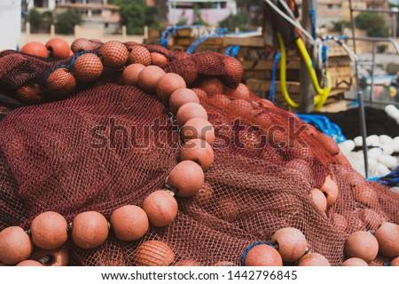 Fishing nets in Saket small dock in Bejaia, Algeria
