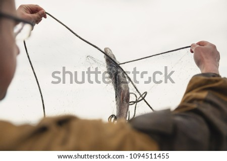 fishing nets on a boat #1094511455