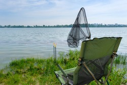 Fishing on the lake. Fishing tackle on the lake. Fishing background.
